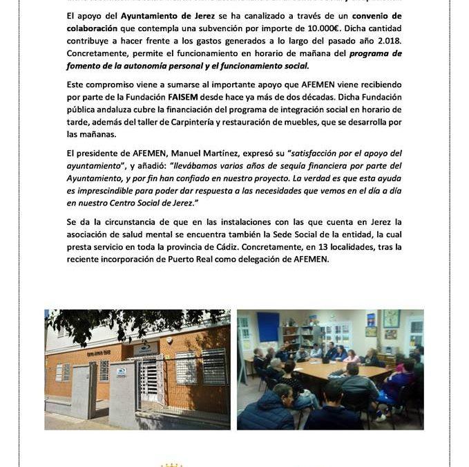 AFEMEN firma un convenio de colaboración con el Ayuntamiento de Jerez