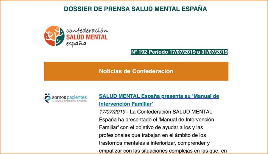 Dossier de Prensa Salud Mental España, 2ª Quincena de Junio 2019