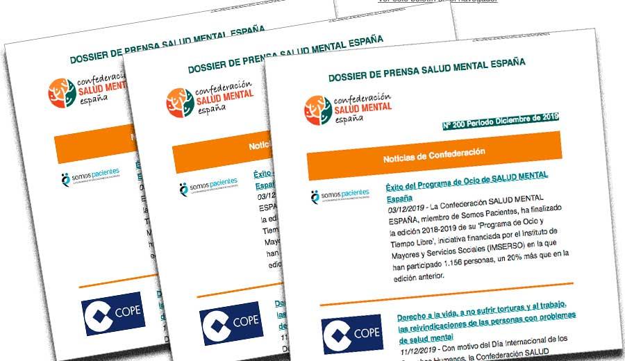 Dossier de prensa Salud Mental España periodo diciembre 2019