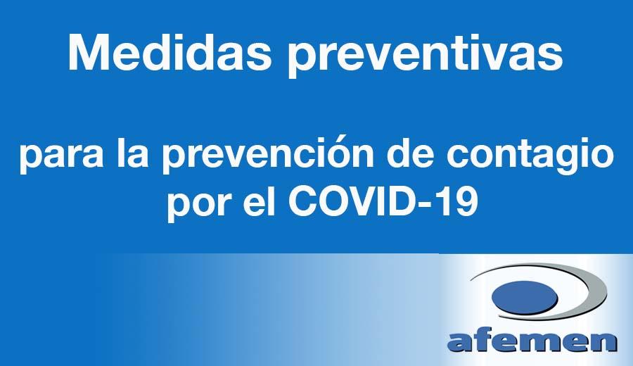 Medidas preventivas de AFEMEN para la prevención de contagio por el COVID-19