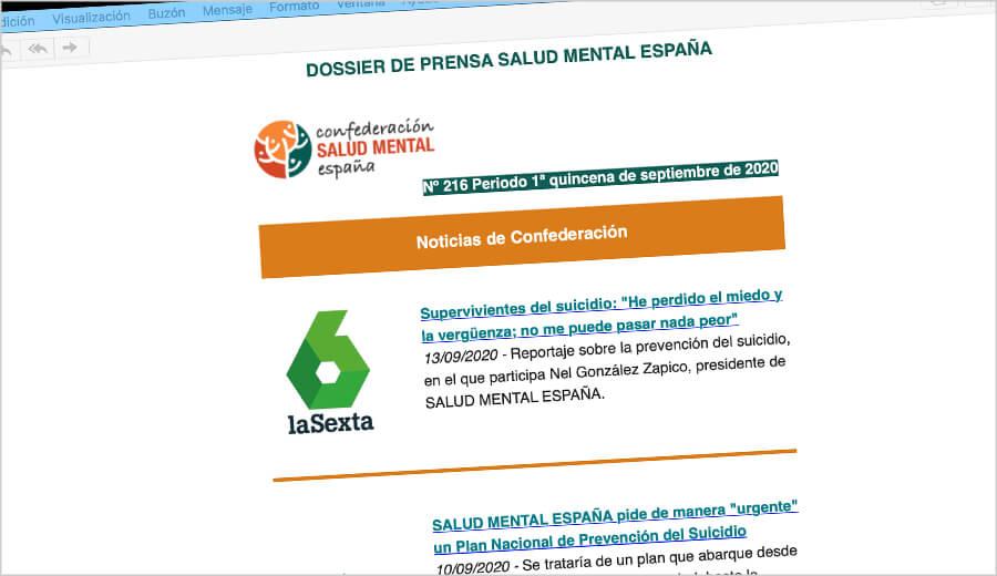 Dossier de prensa Salud Mental España 1ª quincena septiembre 2020